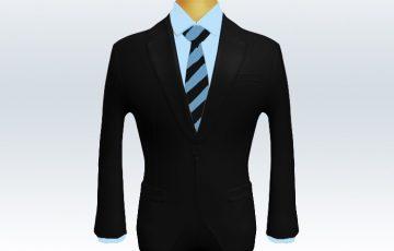 黒スーツと水色黒ストライプネクタイと青ワイシャツ