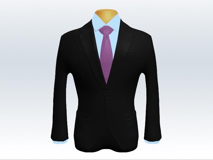 ブラックスーツと紫色無地ネクタイと青ワイシャツ