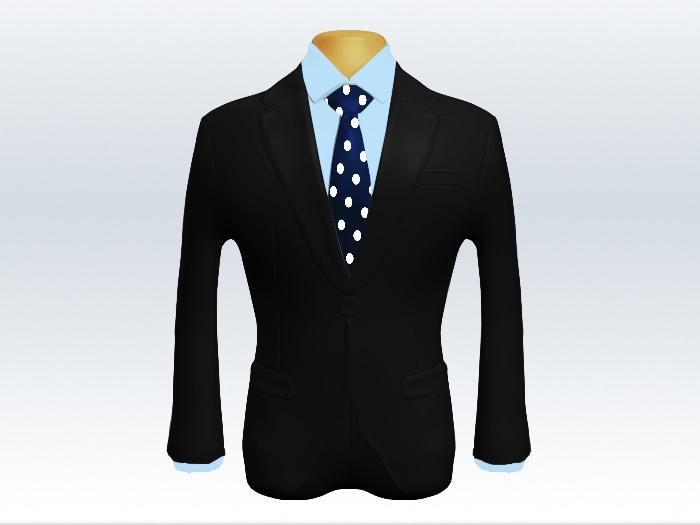 黒スーツと紺色ドット柄ネクタイと青ワイシャツ