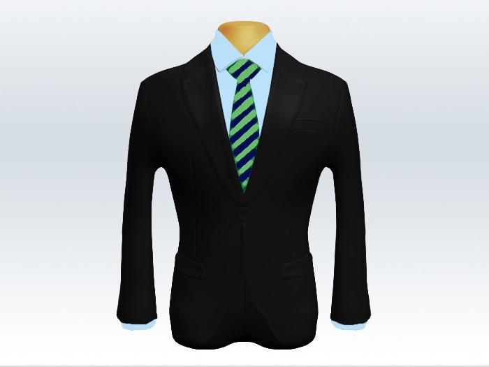 黒スーツと緑紺ストライプネクタイと青ワイシャツ