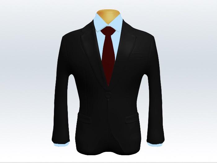 ブラックスーツと赤色無地ネクタイと青ワイシャツ