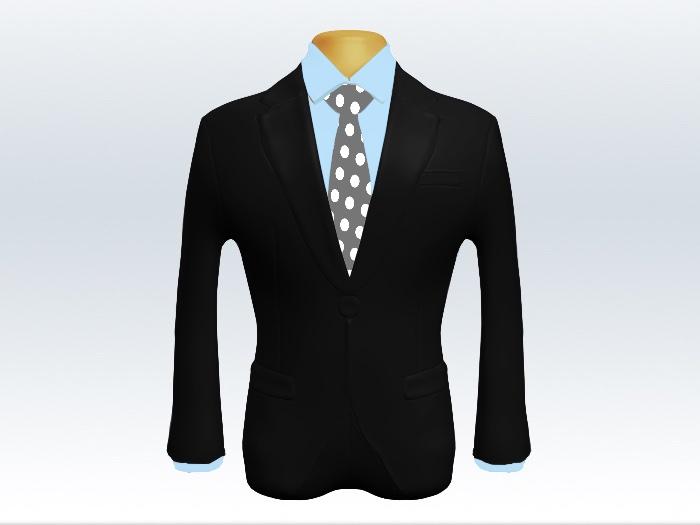 黒スーツと灰色ドット柄ネクタイと青ワイシャツ