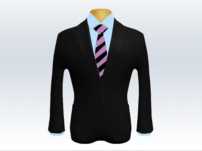 黒スーツと紫黒ストライプネクタイと青ワイシャツ