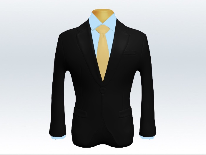 ブラックスーツと黄色無地ネクタイと青ワイシャツ