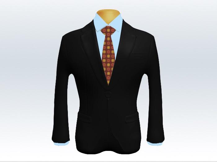 黒スーツと赤小紋柄ネクタイとブルーワイシャツ