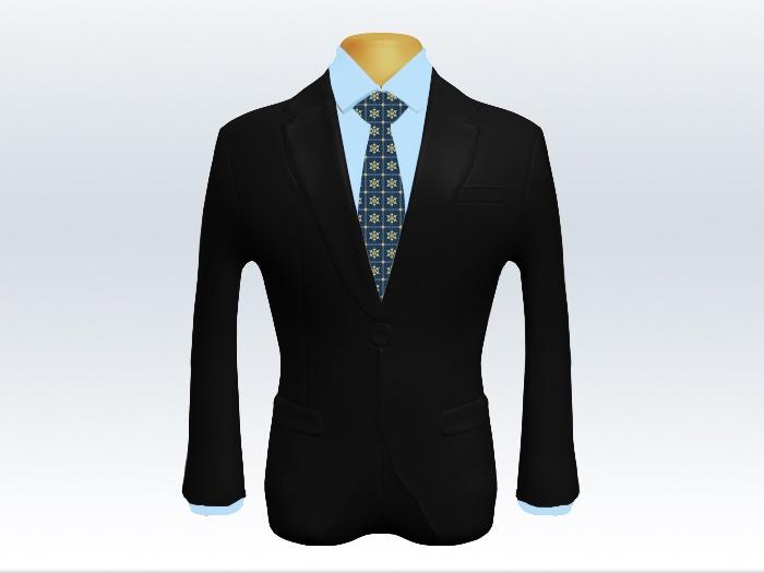 黒スーツと青小紋柄ネクタイとブルーワイシャツ