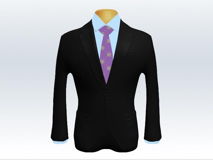 黒スーツとパープル小紋柄ネクタイとブルーワイシャツ