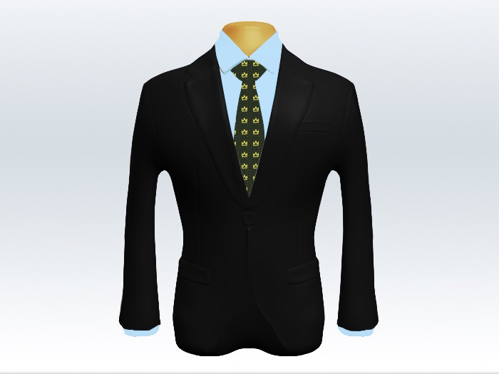黒スーツと緑小紋柄ネクタイとブルーワイシャツ