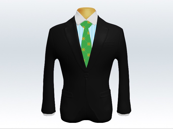 黒スーツとグリーン小紋柄ネクタイとロンドンストライプワイシャツ