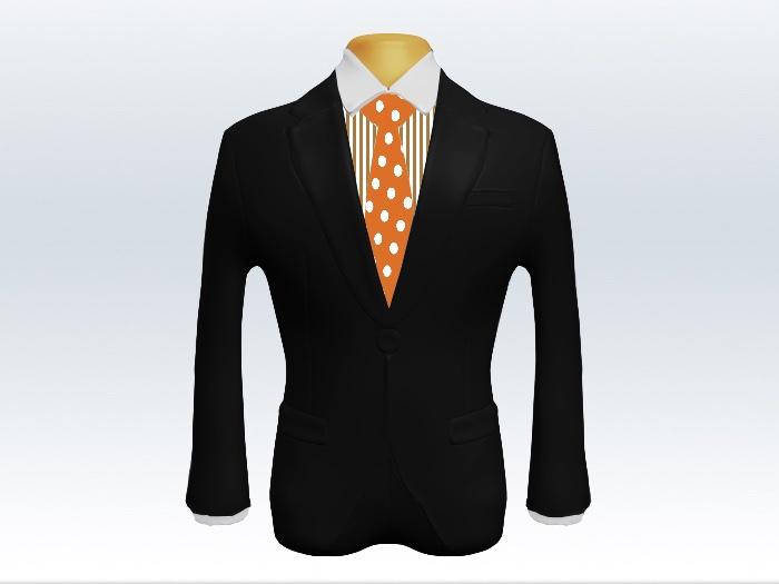 黒スーツとオレンジ色ドット柄ネクタイとロンドンストライプワイシャツ