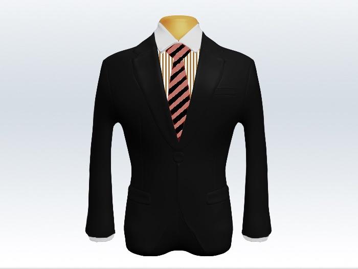 黒スーツと朱色黒ストライプネクタイとロンドンストライプワイシャツ