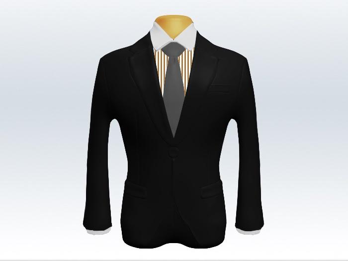 ブラックスーツと灰色無地ネクタイとロンドンストライプワイシャツ