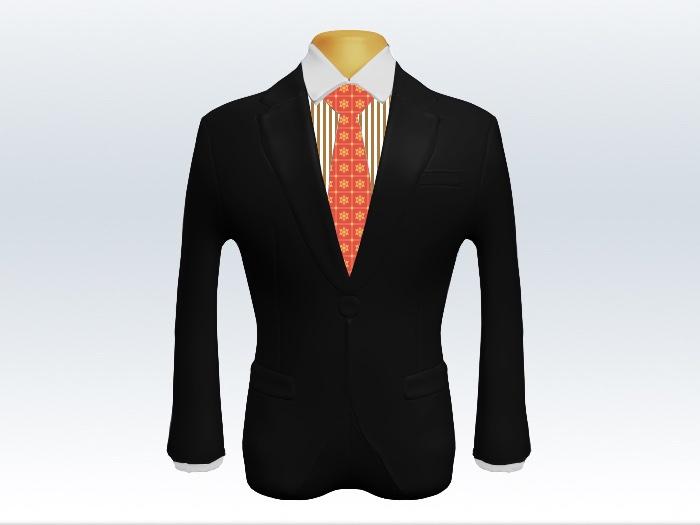 黒スーツとオレンジ小紋柄ネクタイとロンドンストライプワイシャツ