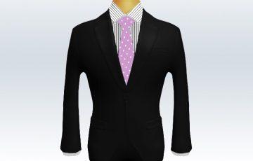 黒スーツと紫色ドット柄ネクタイとペンシルストライプワイシャツ