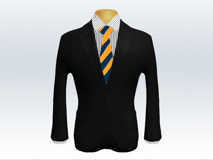 黒スーツと紺黄色ストライプネクタイとペンシルストライプワイシャツ