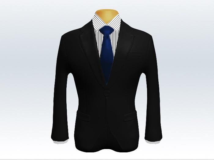 ブラックスーツとネイビー無地ネクタイとペンシルストライプワイシャツ