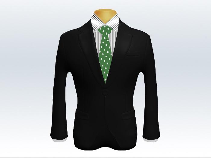 黒スーツと緑色ドット柄ネクタイとペンシルストライプワイシャツ