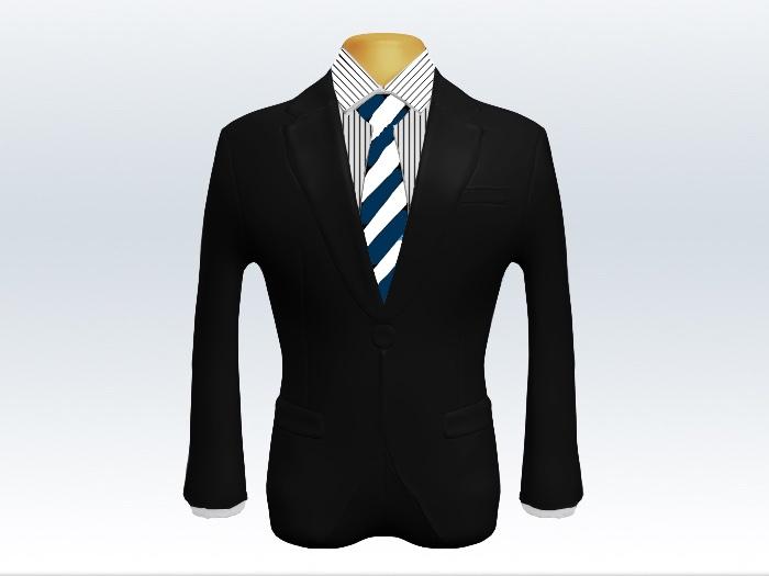 黒スーツと紺白ストライプネクタイとペンシルストライプワイシャツ