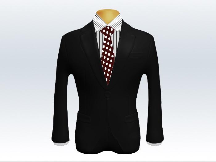 黒スーツと赤色ドット柄ネクタイとペンシルストライプワイシャツ