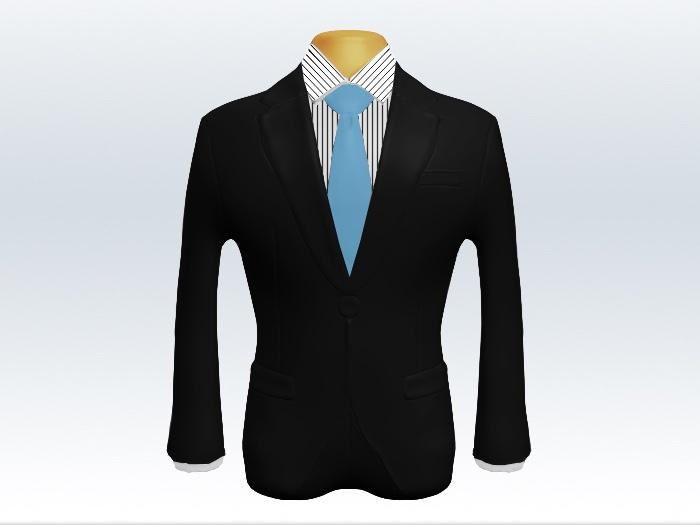 ブラックスーツと水色無地ネクタイとペンシルストライプワイシャツ
