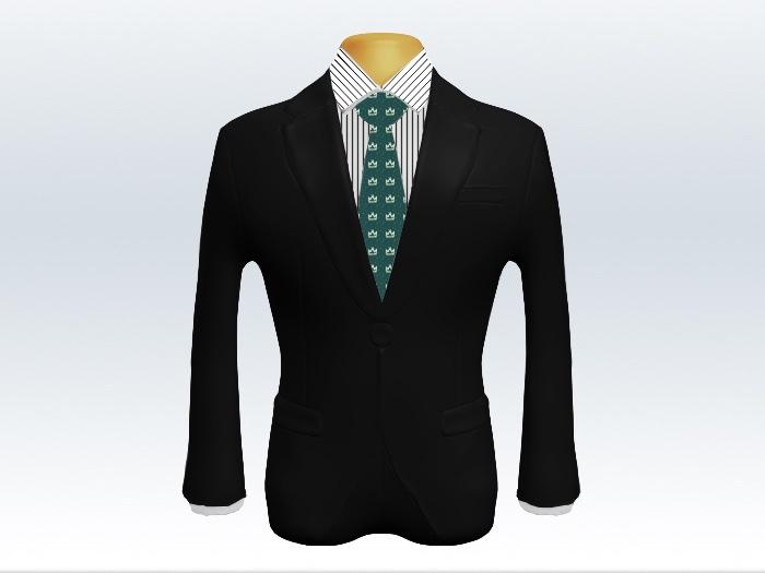 黒スーツと緑小紋柄ネクタイとペンシルストライプワイシャツ