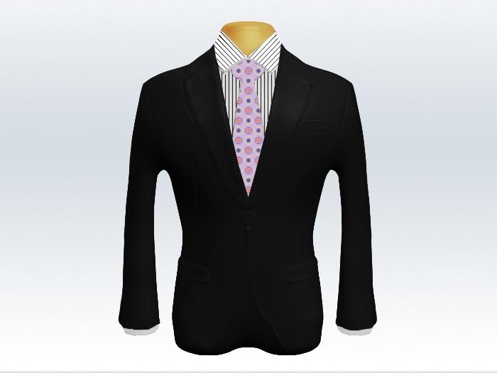 黒スーツと紫小紋柄ネクタイとペンシルストライプワイシャツ