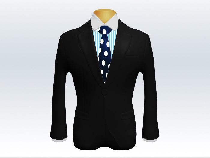 黒スーツと紺色ドット柄ネクタイとロンドンストライプワイシャツ