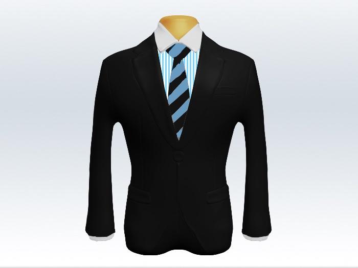 黒スーツと水色黒ストライプネクタイとロンドンストライプワイシャツ