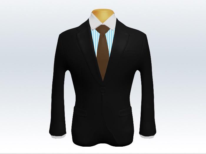 ブラックスーツと茶色無地ネクタイとロンドンストライプワイシャツ