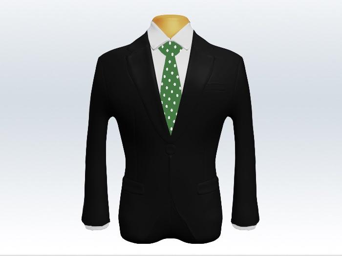 黒スーツと緑ドット柄ネクタイと白ワイシャツ