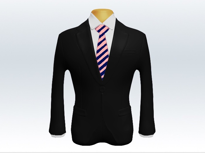 黒スーツと桃紺ストライプネクタイと白ワイシャツ