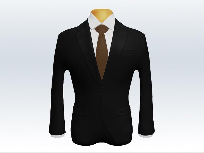 ブラックスーツと茶色無地ネクタイと白ワイシャツ