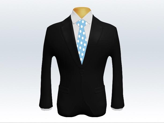 黒スーツと水色ドット柄ネクタイと白ワイシャツ
