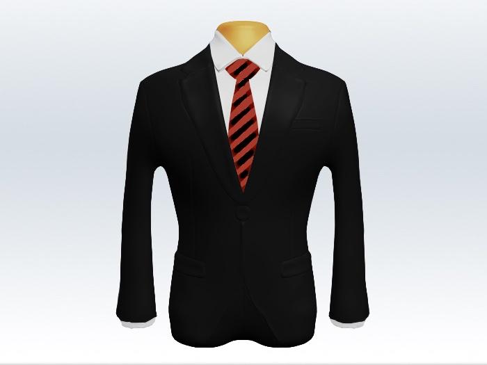 黒スーツと赤黒ストライプネクタイと白ワイシャツ
