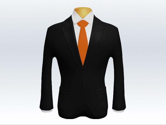 ブラックスーツとオレンジ無地ネクタイと白ワイシャツ