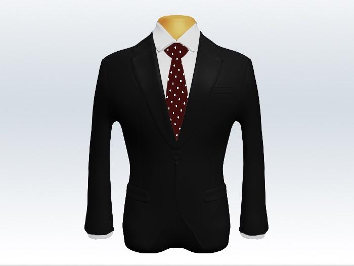 黒スーツと赤色ドット柄ネクタイと白ワイシャツ