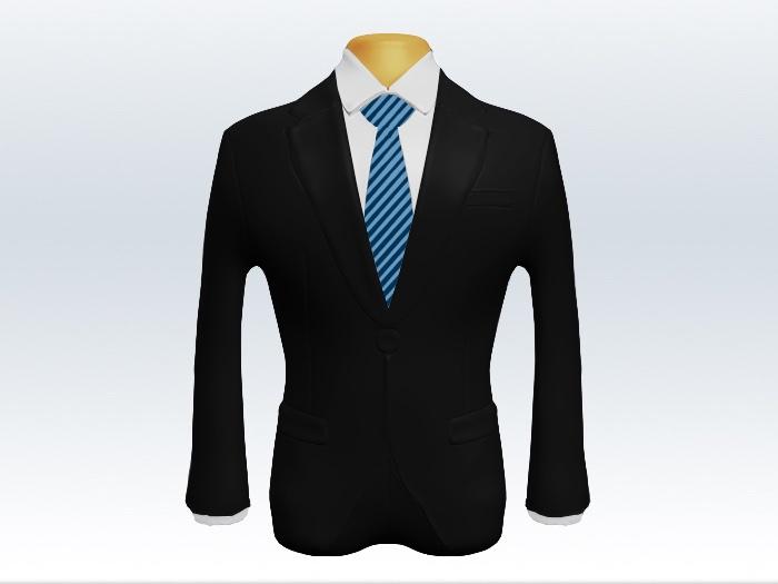 黒スーツと細身ストライプネクタイと白ワイシャツ