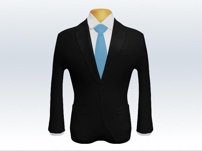 ブラックスーツと水色無地ネクタイと白ワイシャツ