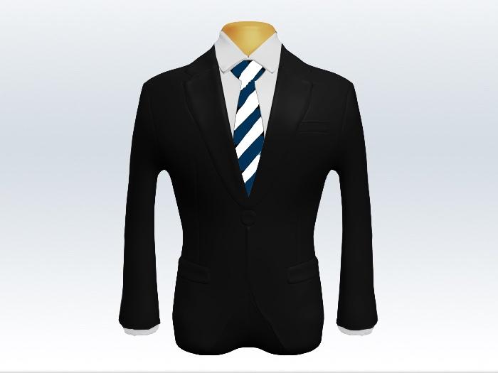 黒スーツと紺白ストライプネクタイと白ワイシャツ