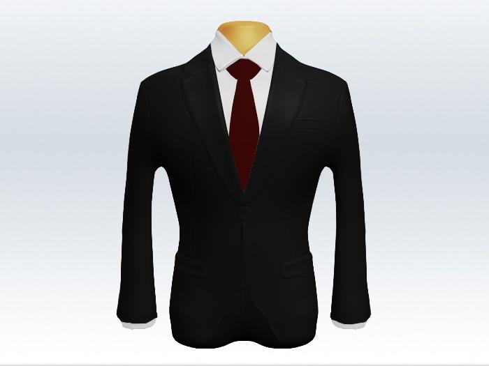 ブラックスーツと赤色無地ネクタイと白ワイシャツ