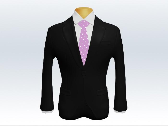 黒スーツと紫色ドット柄ネクタイと白ワイシャツ