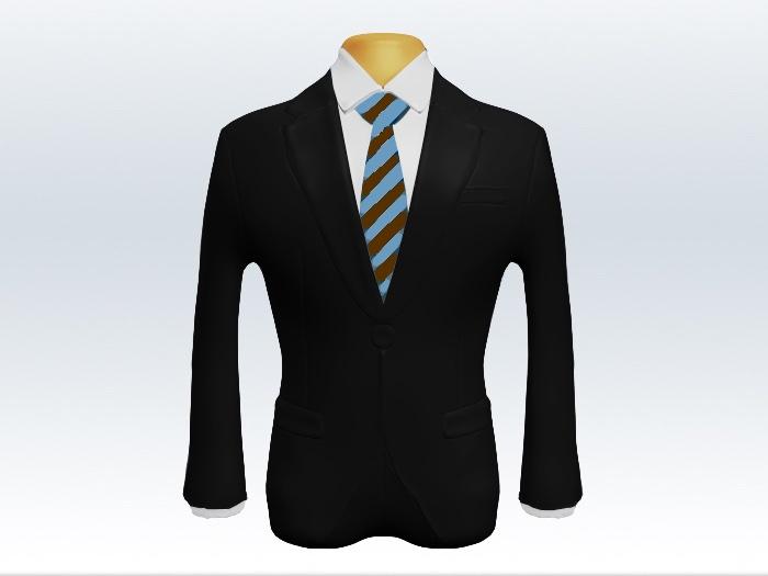 黒スーツと茶色水色ストライプネクタイと白ワイシャツ