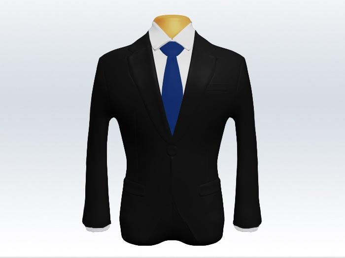 ブラックスーツと青色無地ネクタイと白ワイシャツ