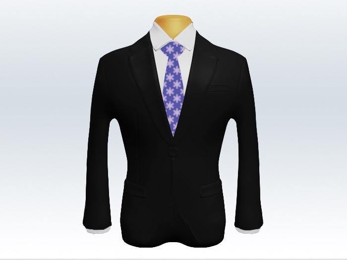 黒スーツと紫小紋柄ネクタイと白ワイシャツ
