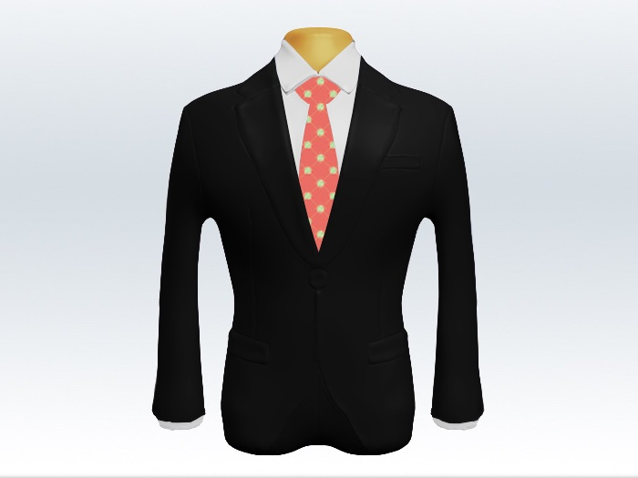 黒スーツとピンク小紋柄ネクタイと白ワイシャツ