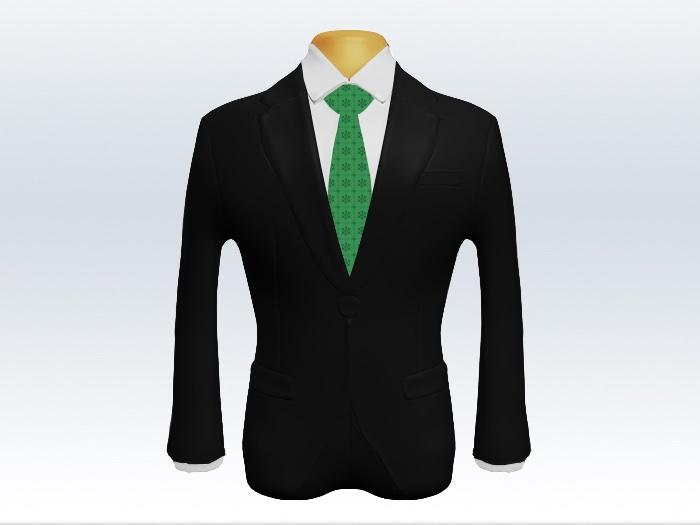 黒スーツと緑小紋柄ネクタイと白ワイシャツ