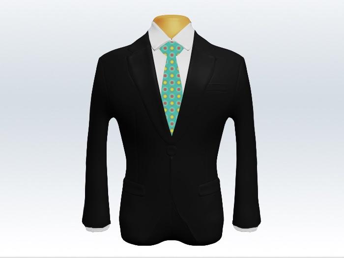 黒スーツとカジュアル小紋柄ネクタイと白ワイシャツ