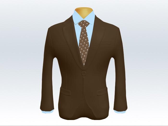 ブラウンスーツと茶色ピンドットネクタイと青ワイシャツ