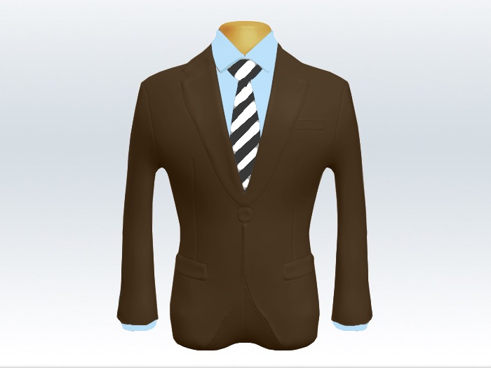 ブラウンスーツと灰白ストライプネクタイと青ワイシャツ