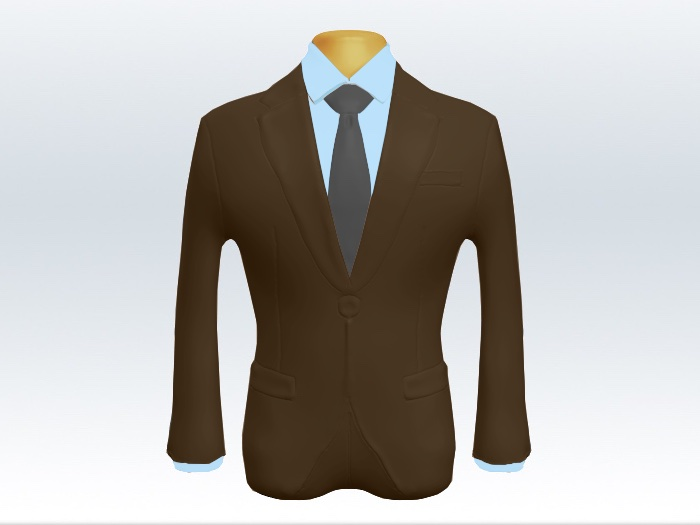 ブラウンスーツと灰色無地ネクタイと青ワイシャツ